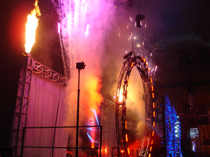 pyrotechnics at sports event
