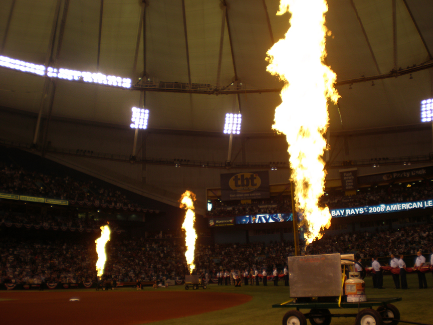 Propane Flames at MLB Game opener